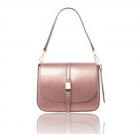 イタリア製NAUSICA メタリック・カーフレザーの2WAYハンドバッグ、ショルダーバッグ、ピンク、桜色、桃色、ローズ