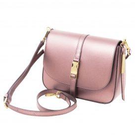 イタリア製NAUSICA メタリック・カーフレザーの2WAYハンドバッグ、ショルダーバッグ、ピンク、桜色、桃色、ローズ、詳細1