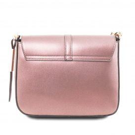 イタリア製NAUSICA メタリック・カーフレザーの2WAYハンドバッグ、ショルダーバッグ、ピンク、桜色、桃色、ローズ、詳細2