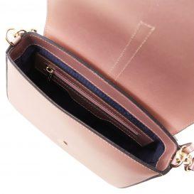 イタリア製NAUSICA メタリック・カーフレザーの2WAYハンドバッグ、ショルダーバッグ、ピンク、桜色、桃色、ローズ、詳細3