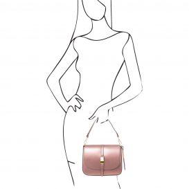 イタリア製NAUSICA メタリック・カーフレザーの2WAYハンドバッグ、ショルダーバッグ、ピンク、桜色、桃色、ローズ、詳細4