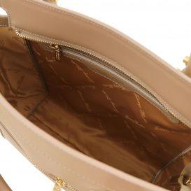 イタリア製ルーガ・カーフレザー2WAYハンドバッグ、ダークトープ、詳細2