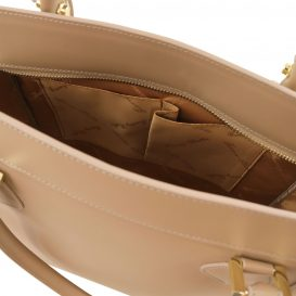 イタリア製ルーガ・カーフレザー2WAYハンドバッグ、ダークトープ、詳細3