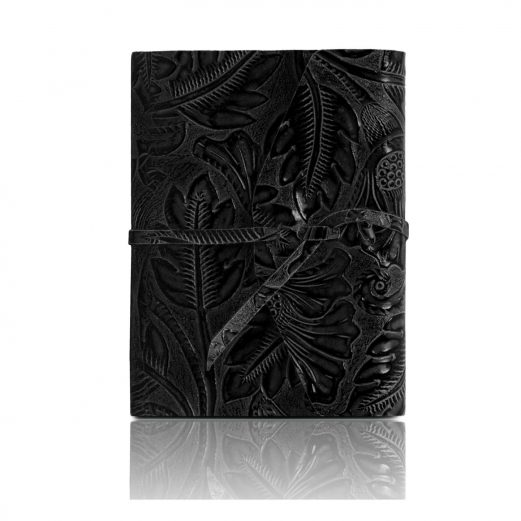イタリア製フローラル模様のカーフレザーカバーのダイアリー・ノート、ブラック