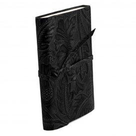 イタリア製フローラル模様のカーフレザーカバーのダイアリー・ノート、ブラック、詳細1