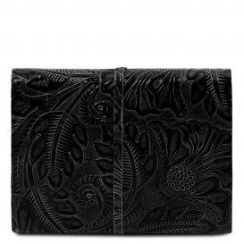 イタリア製フローラル模様のカーフレザーカバーのダイアリー・ノート、ブラック、詳細2