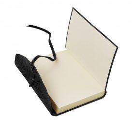 イタリア製フローラル模様のカーフレザーカバーのダイアリー・ノート、ブラック、詳細3