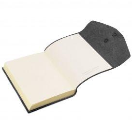 イタリア製フローラル模様のカーフレザーカバーのダイアリー・ノート、ブラック、詳細4