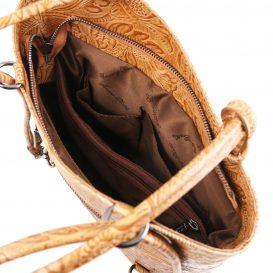 イタリア製PATTY フローラル模様カーフレザー・リュック&ショルダー2way バッグ、コニャック、キャメル、詳細3