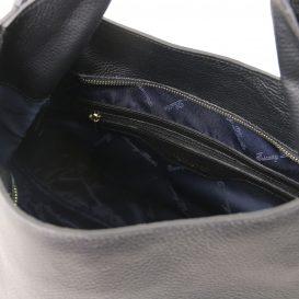 イタリア製シボ加工レザーのショルダーバッグ TL BAG、ブラック、黒、詳細4