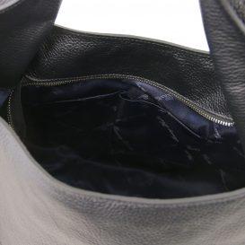 イタリア製シボ加工レザーのショルダーバッグ TL BAG、ブラック、黒、詳細5