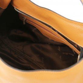 イタリア製シボ加工レザーのショルダーバッグ TL BAG、コニャック、キャメル、詳細4