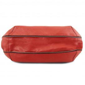 イタリア製シボ加工レザーのショルダーバッグ TL BAG、ルージュ、レッド、赤、詳細3