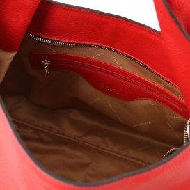 イタリア製シボ加工レザーのショルダーバッグ TL BAG、ルージュ、レッド、赤、詳細4