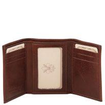 イタリア製フルグレインレザーのIDカード&紙幣入れメンズ三つ折り財布、詳細