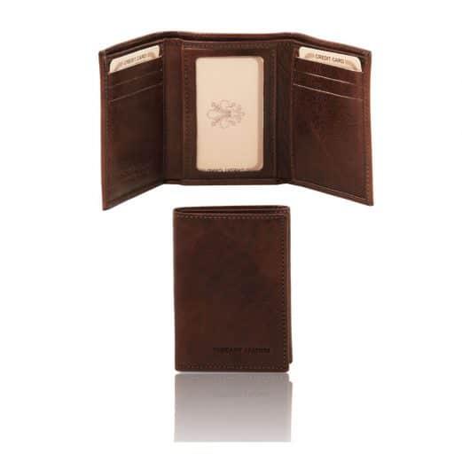 イタリア製フルグレインレザーのIDカード&紙幣入れメンズ三つ折り財布、ダークブラウン