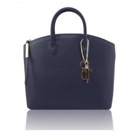 イタリア製本革サフィアーノレザー・レディース・ツーウェイショルダーバッグ、ダークブルー、紺