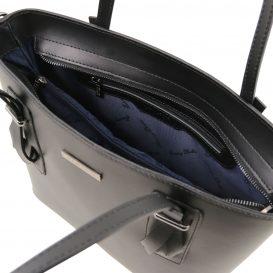 イタリア製スムースレザー2WAYトートバッグ AFRODITE、ブラック、黒、詳細2