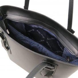 イタリア製スムースレザー2WAYトートバッグ AFRODITE、ブラック、黒、詳細3