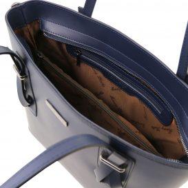 イタリア製スムースレザー2WAYトートバッグ AFRODITE、ダークブルー、ネイビー、詳細2