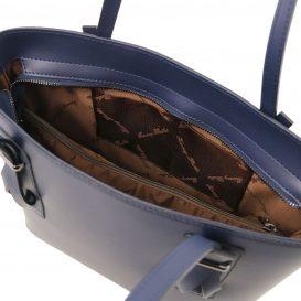 イタリア製スムースレザー2WAYトートバッグ AFRODITE、ダークブルー、ネイビー、詳細3
