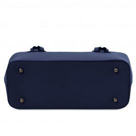 イタリア製スムースレザー2WAYトートバッグ AFRODITE、ダークブルー、ネイビー、詳細4