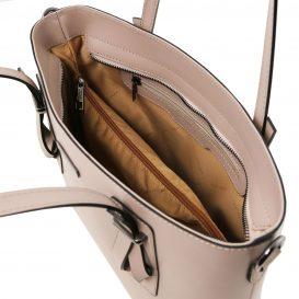 イタリア製スムースレザー2WAYトートバッグ AFRODITE、ライトトープ、トープ、グレージュ、詳細2
