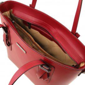 イタリア製スムースレザー2WAYトートバッグ AFRODITE、レッド、赤、詳細2