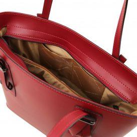 イタリア製スムースレザー2WAYトートバッグ AFRODITE、レッド、赤、詳細3