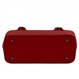 イタリア製スムースレザー2WAYトートバッグ AFRODITE、レッド、赤、詳細4