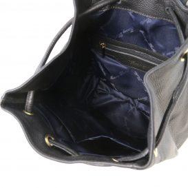 イタリア製シボ型押しレザーのフロントポケット・リュックTL BAG、ブラック、詳細3