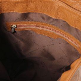イタリア製シボ加工レザーのリュックTL BAG、コニャック、詳細3