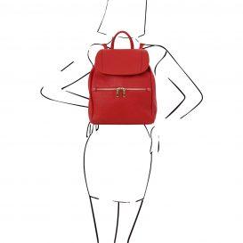 イタリア製フロントポケットありシボ加工レザーのリュックTL BAG、レッド、赤、詳細4
