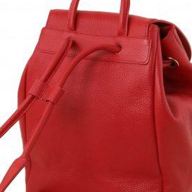 イタリア製フロントポケットありシボ加工レザーのリュックTL BAG、レッド、赤、詳細5