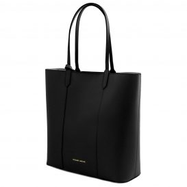 イタリア製ポーチ付きのトートバッグ DAFNE、ブラック、黒、詳細1