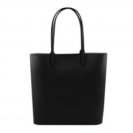 イタリア製ポーチ付きのトートバッグ DAFNE、ブラック、黒、詳細2