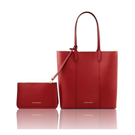 イタリア製ポーチ付きのトートバッグ DAFNE、レッド、赤