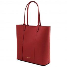 イタリア製ポーチ付きのトートバッグ DAFNE、レッド、赤、詳細1