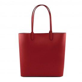イタリア製ポーチ付きのトートバッグ DAFNE、レッド、赤、詳細2