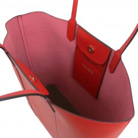 イタリア製ポーチ付きのトートバッグ DAFNE、レッド、赤、詳細3