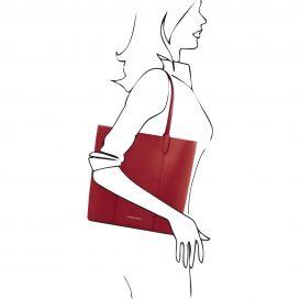 イタリア製ポーチ付きのトートバッグ DAFNE、レッド、赤、詳細5