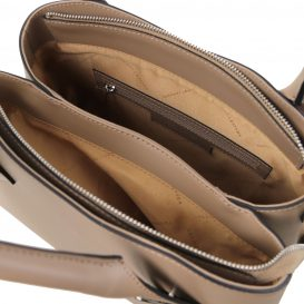 イタリア製スムースレザーの2WAYハンドバッグ FLORA、ダークトープ、詳細2