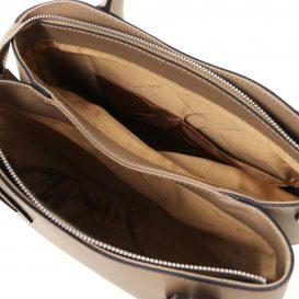 イタリア製スムースレザーの2WAYハンドバッグ FLORA、ダークトープ、詳細3