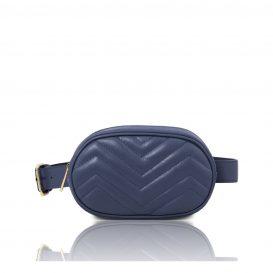 イタリア製ソフトレザーのウェストバッグ TL Bag、ダークブルー