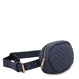 イタリア製ソフトレザーのウェストバッグ TL Bag、ダークブルー、詳細1