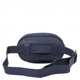 イタリア製ソフトレザーのウェストバッグ TL Bag、ダークブルー、詳細2