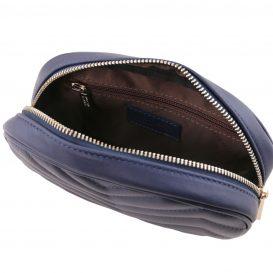 イタリア製ソフトレザーのウェストバッグ TL Bag、ダークブルー、詳細3