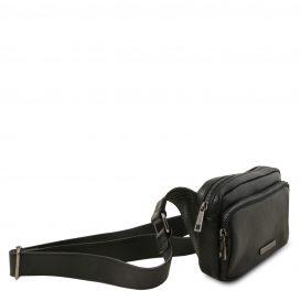 イタリア製シボ加工レザーのウェストポーチ TL Bag、ブラック、詳細1