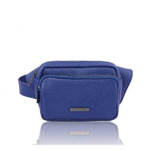 イタリア製シボ加工レザーのウェストポーチ TL Bag、ブルー