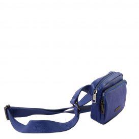 イタリア製シボ加工レザーのウェストポーチ TL Bag、ブルー、詳細1